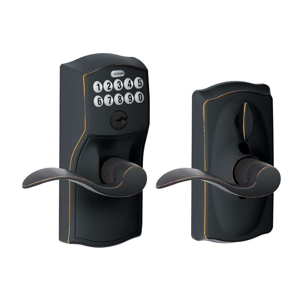 Schlage FE595 Camelot with Accent lever, Aged Bronze