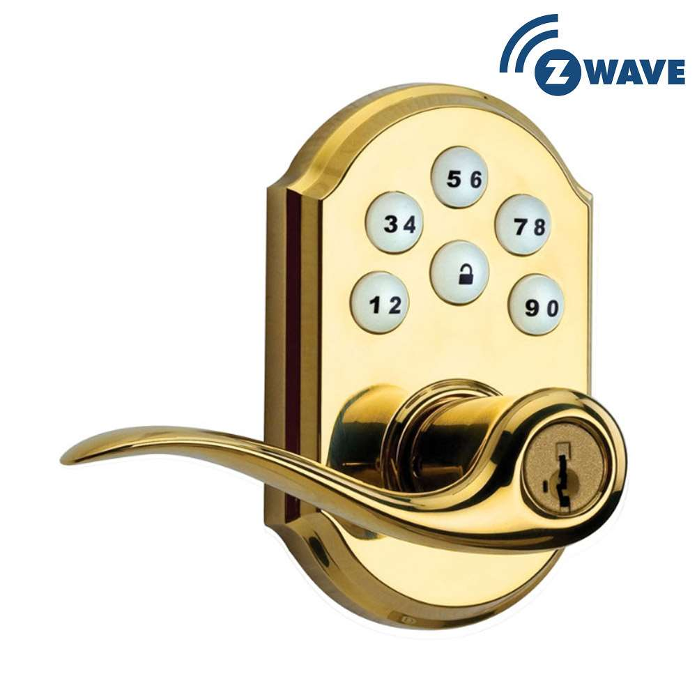 Kwikset Smartcode 912 Lever With Z Wave Polished Brass