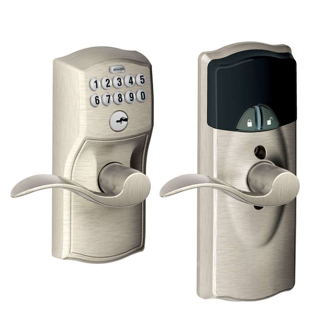 Schlage Fe599nx Smart Keypad Z Wave Lever Satin Nickel