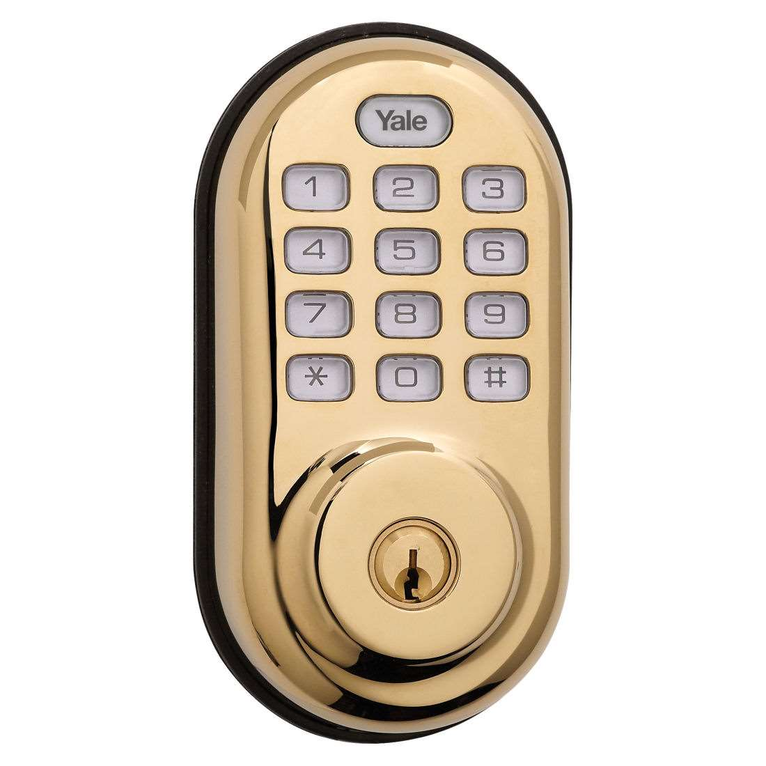Yale Yrd216nr605 Keyless Push Button Deadbolt Bright