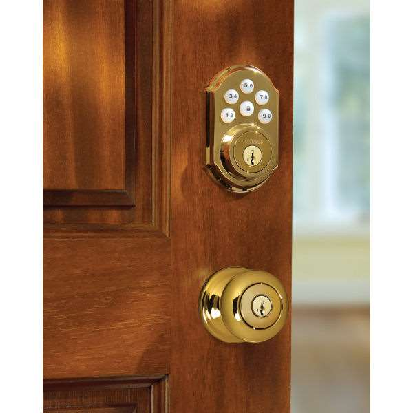Smartcode 909 Electronic Deadbolt Polished Brass Gokeyless