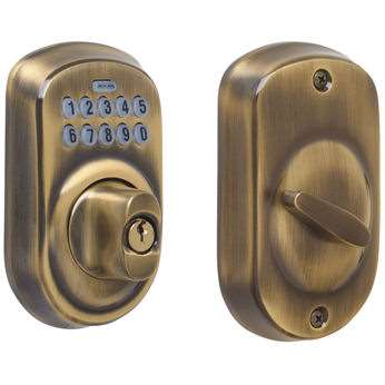 SCHLAGE BE365 Keypad Deadbolt – Antique Brass
