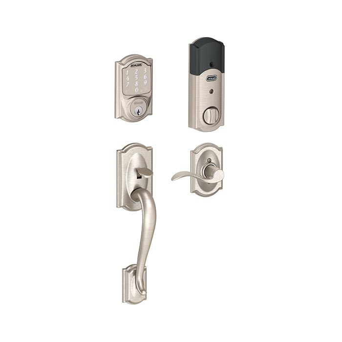 FE479 Camelot Style Lower Half Handleset with Accent Lever in Satin Nickel