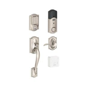 Schlage Sense and Handleset in Satin Nickel