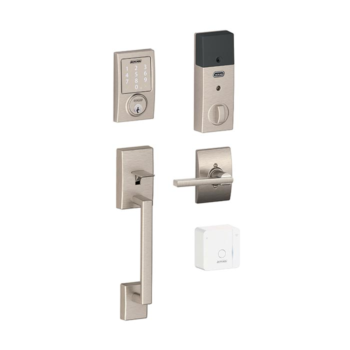 Schlage Sense and Handleset in Satin Nickel, Century trim and Latitude style lever