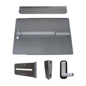 LockeyUSA PS61 Standard Panic Shield Security Kit with Lockey PB1100 in Silver