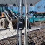 Master Lock 6400SHENT on Construction Gate Exterior